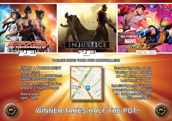 360GamingUK Triple Header: TTT2, Injustice and UMvC3 – Sun 2nd June 2013